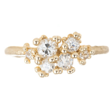 Antique Diamond Asymmetric Cluster Ring - 14k Gold + Diamonds