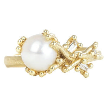 Asymmetric Pearl + Diamond Ring - 18k Gold, Freshwater Pearl + Diamonds