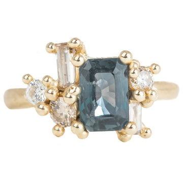 Green Sapphire + Diamond Luminous Cluster Ring - 14k Gold, 2 ctw Radiant Cut Sapphire, Champagne + White Diamonds