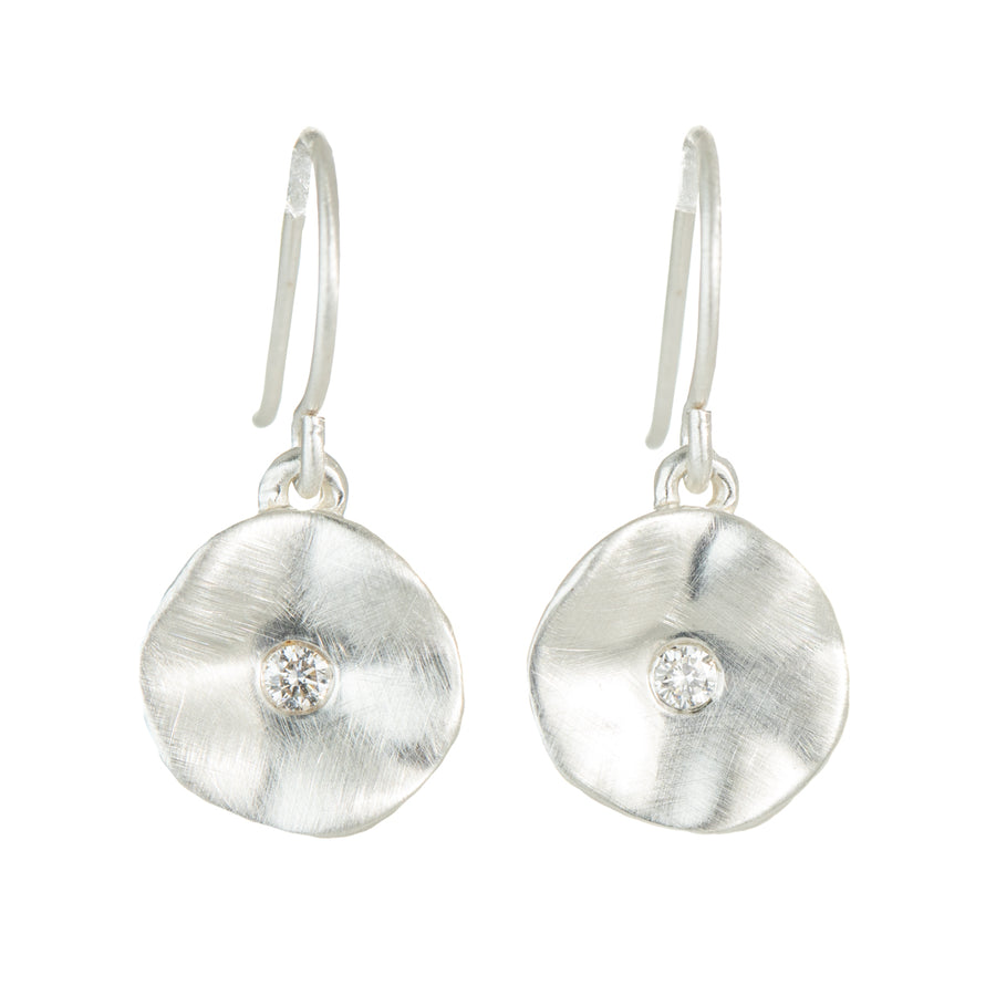 Seed Earrings in Silver + Diamonds