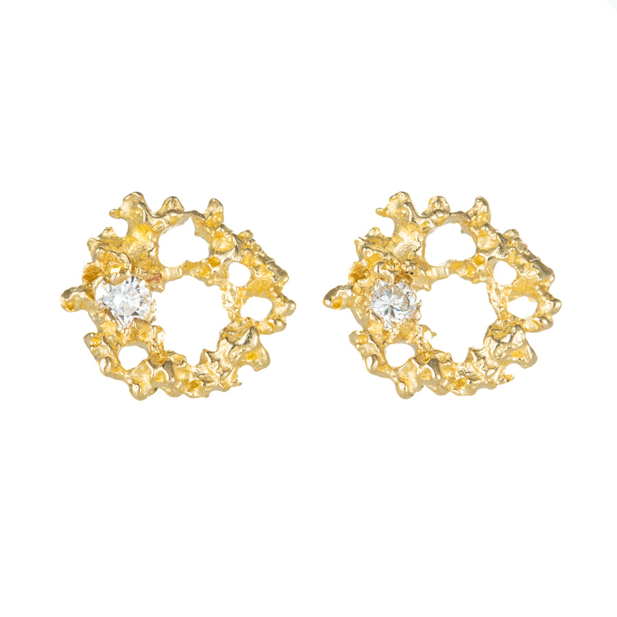 Supernova Studs - 14ky Gold + Diamonds