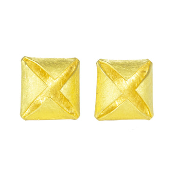 22k Gold Folded Squares on Post Earrings