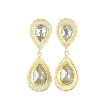 Two Rose Cut Diamond Drop Earrings -18k/22k