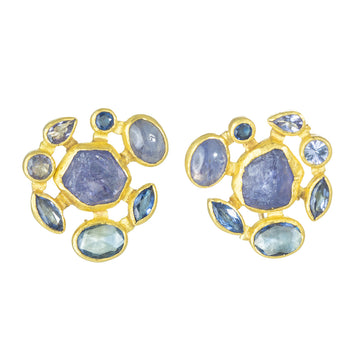 Rough Tanzanite Earrings Surrounded By Purple + Blue Tanzanite, Cabochon + Faceted with Sapphire - 22k/18k