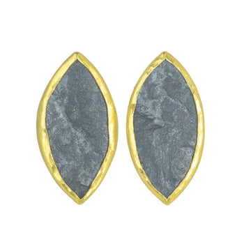 Hematite Marquise Shaped Earrings- 22k/18k Gold