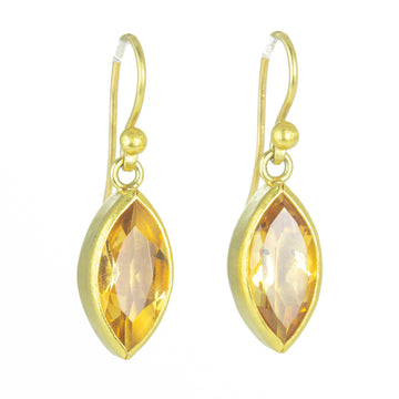 Citrine Facetted Navette Earrings - 22k/18k