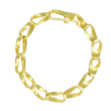 Link Bracelet with Facetted Diamond on Clasp - 18k + 22k Gold