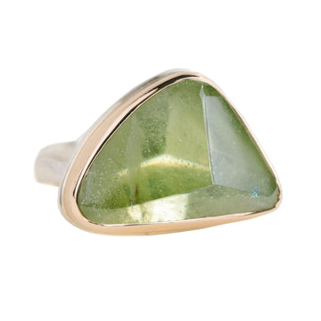 Peridot Ring - Sterling Silver + 14k Gold