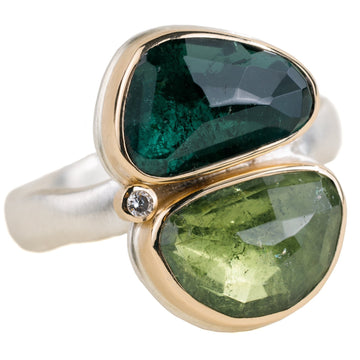 Double Green Tourmaline + Diamond Ring - Sterling Silver + 14k Gold