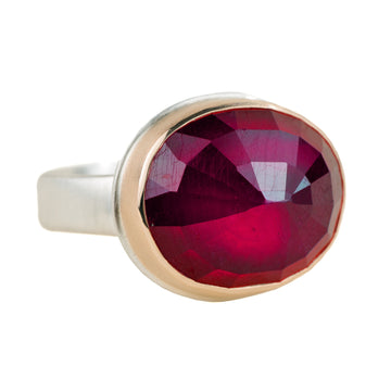 African Ruby Ring - Sterling Silver + 14k Gold