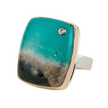 Blue Indonesian Fossilized Opalized Wood + Diamond Ring - Sterling Silver + 14k Gold