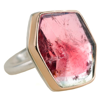 Watermelon Tourmaline Ring - Sterling Silver + 14k Gold