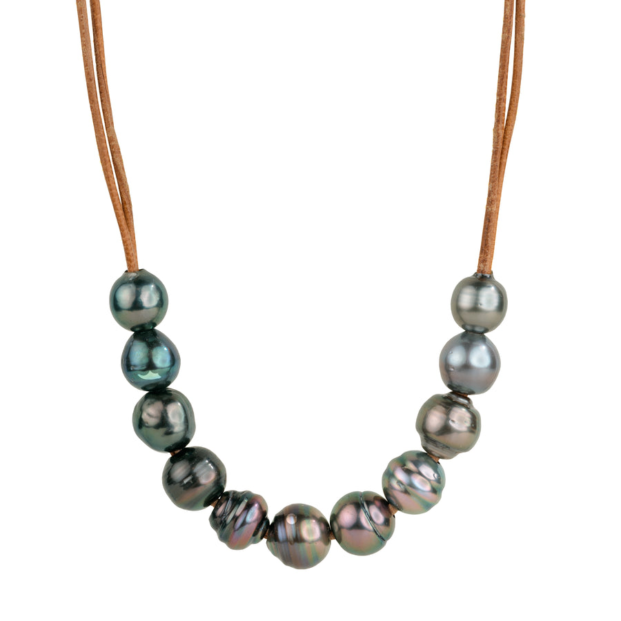 Trapeze 11 + 1 Ombre Tahitian Leather Necklace