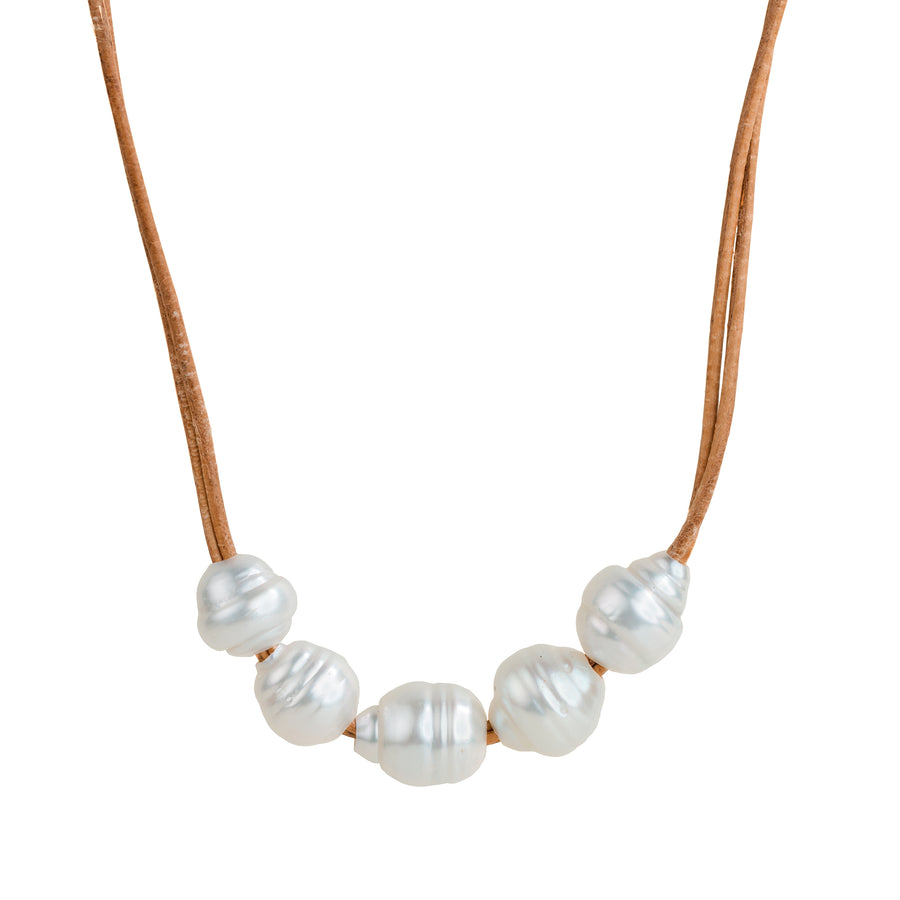 Saline 5 + 1 South Sea Pearls Leather Necklace