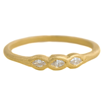 Full Cut Triple Marquise Ring - 22k Gold