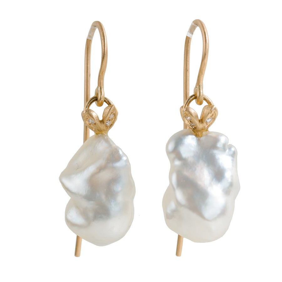 South Sea Baroque Pearl + Diamond Earrings