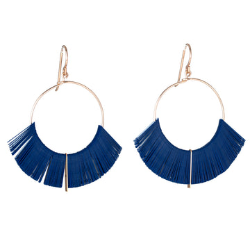 Cobalt Hoop Earrings 1""