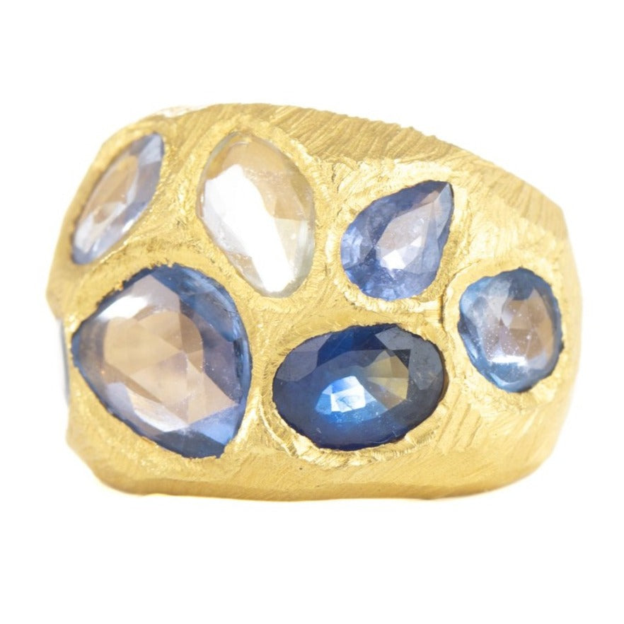 Blue Sapphire Cocktail Ring - 18k Gold