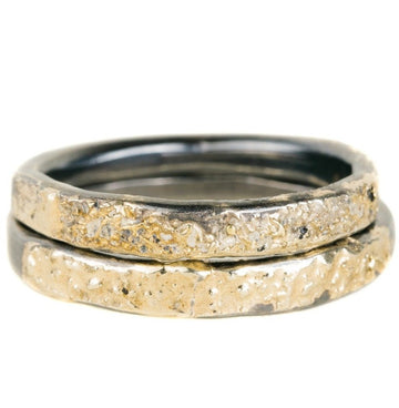 Crescent Band - 18ky Gold + Oxidized Silver