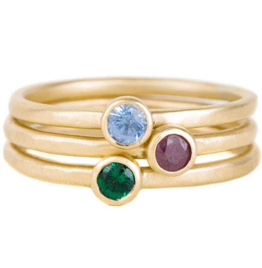 Shine On Birthstone Stackers- 18k Gold + Ethically Sourced Colored Gemstones