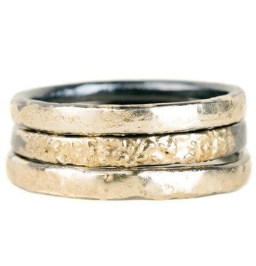 Black Moon Stackers in Medium Width - 18ky Gold + Oxidized Silver
