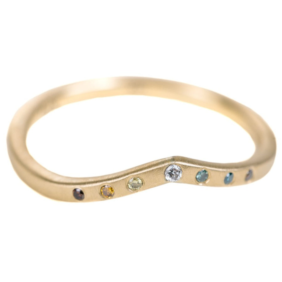 Tiara Shadow Band - 18ky Gold + Colored Diamonds