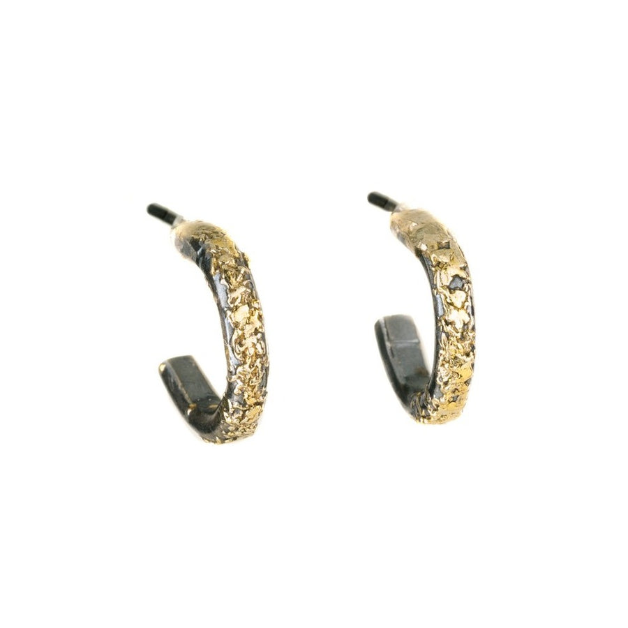 Miniest Hoop Earrings - 18k Gold, 22k Gold Dusted, Oxidized Silver
