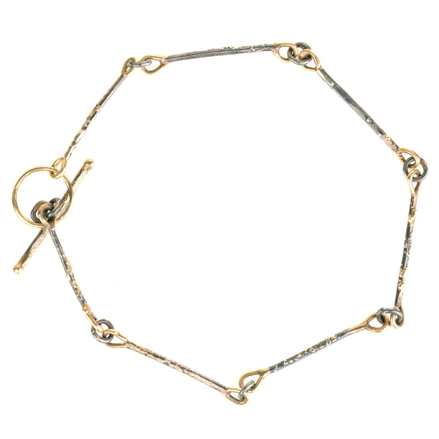 Dusted Bar + Link Bracelet - 22k Gold + Oxidized Silver