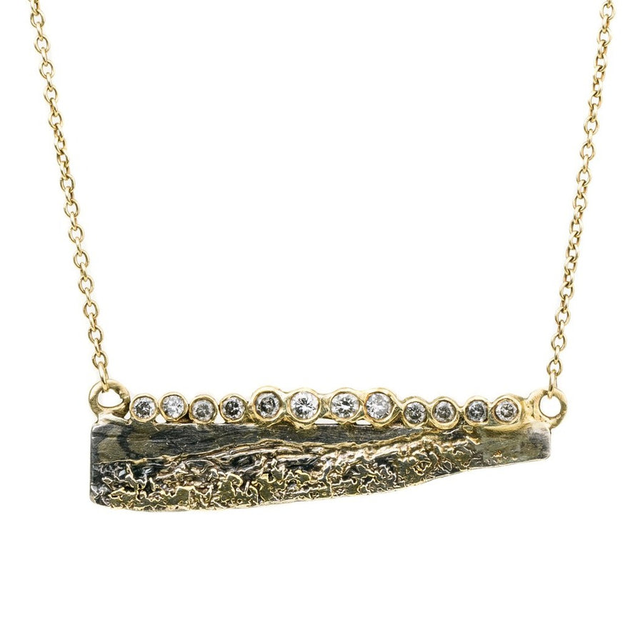 Strata Diamond Necklace - 22k/18k Gold, Oxidized Silver + Reclaimed Diamonds