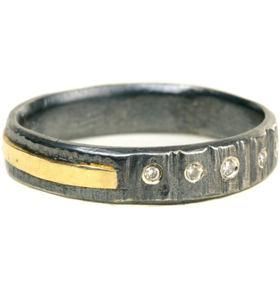 Classic Aspen Band - 18k gold, Oxidized Silver + Reclaimed Diamonds
