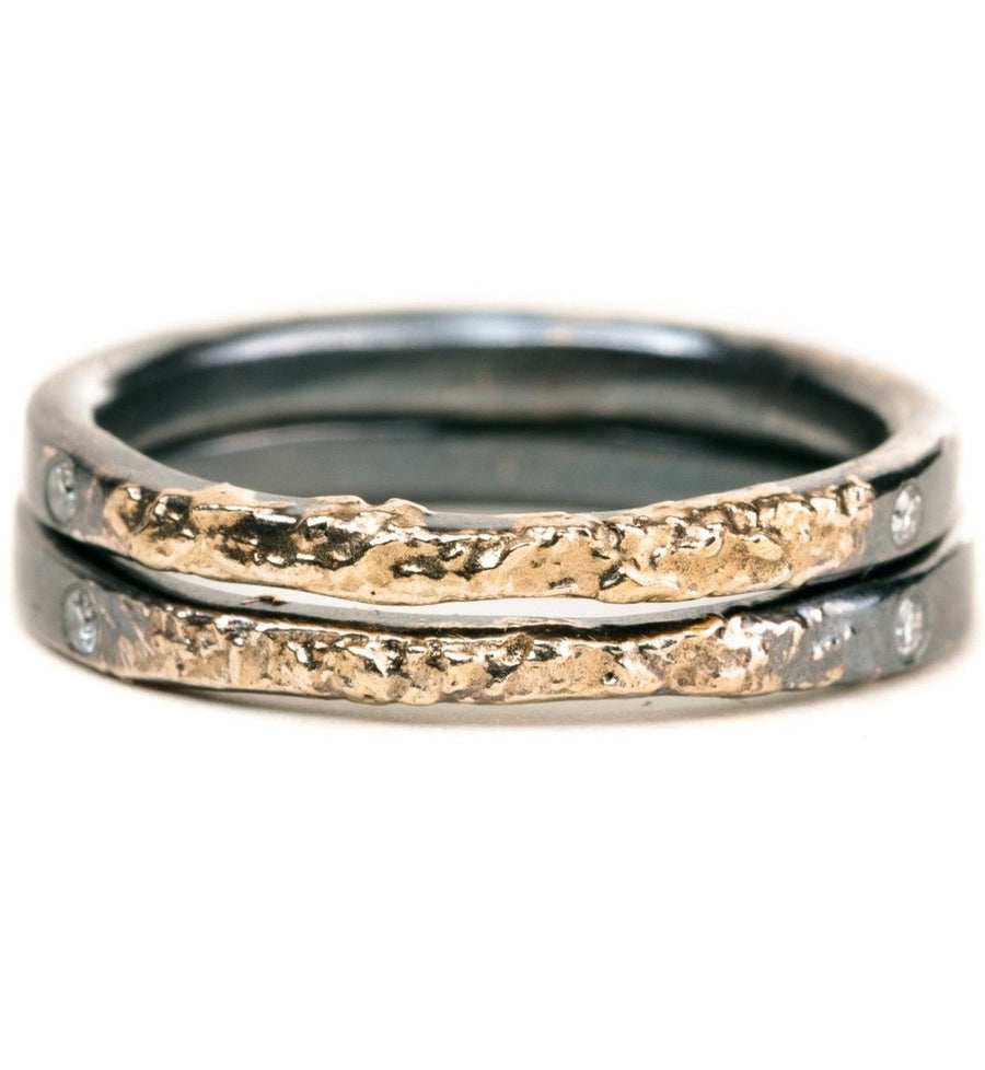 The Jane Stack Rings - 18k Gold, Oxidized Silver + Diamonds