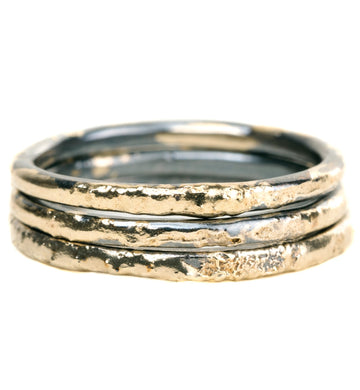 Radiance Fused Stackers - 18k Gold + Oxidized Argentium Silver