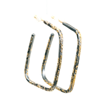 Slice Square Hoops - 22k/18k Gold + Oxidized Silver