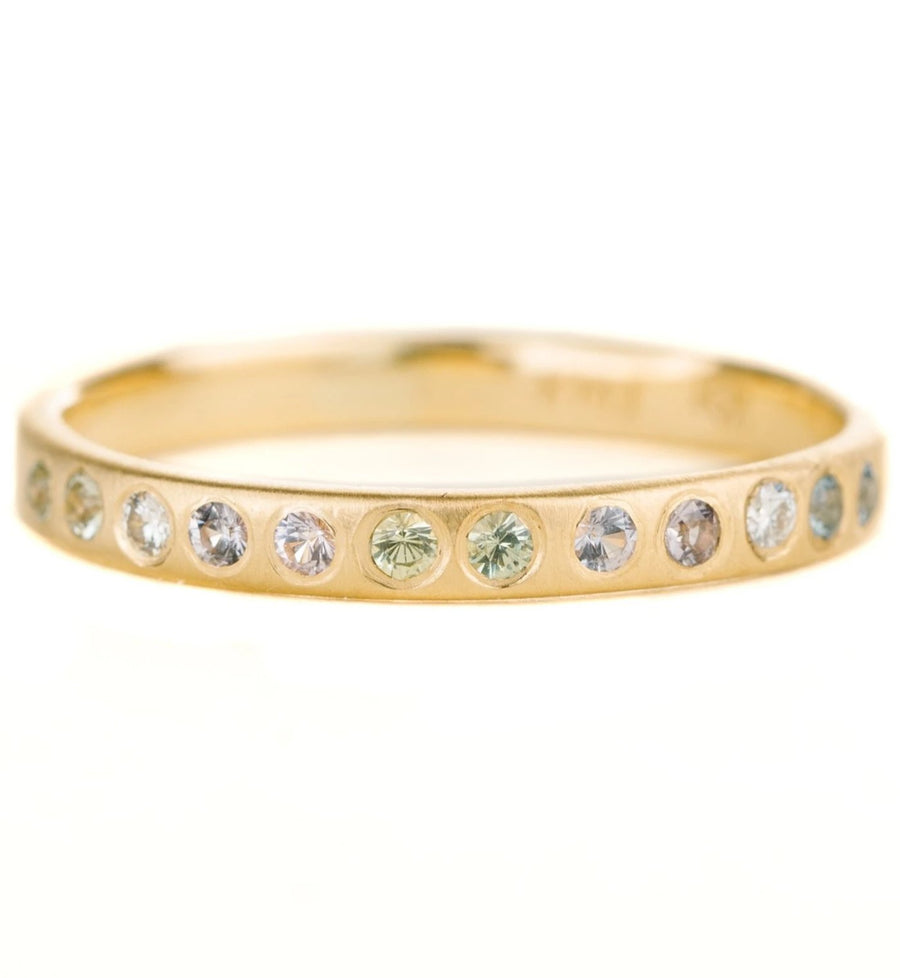 Laurel Band - 18k Gold, Ethically Sourced Montana Sapphires + Reclaimed Diamonds