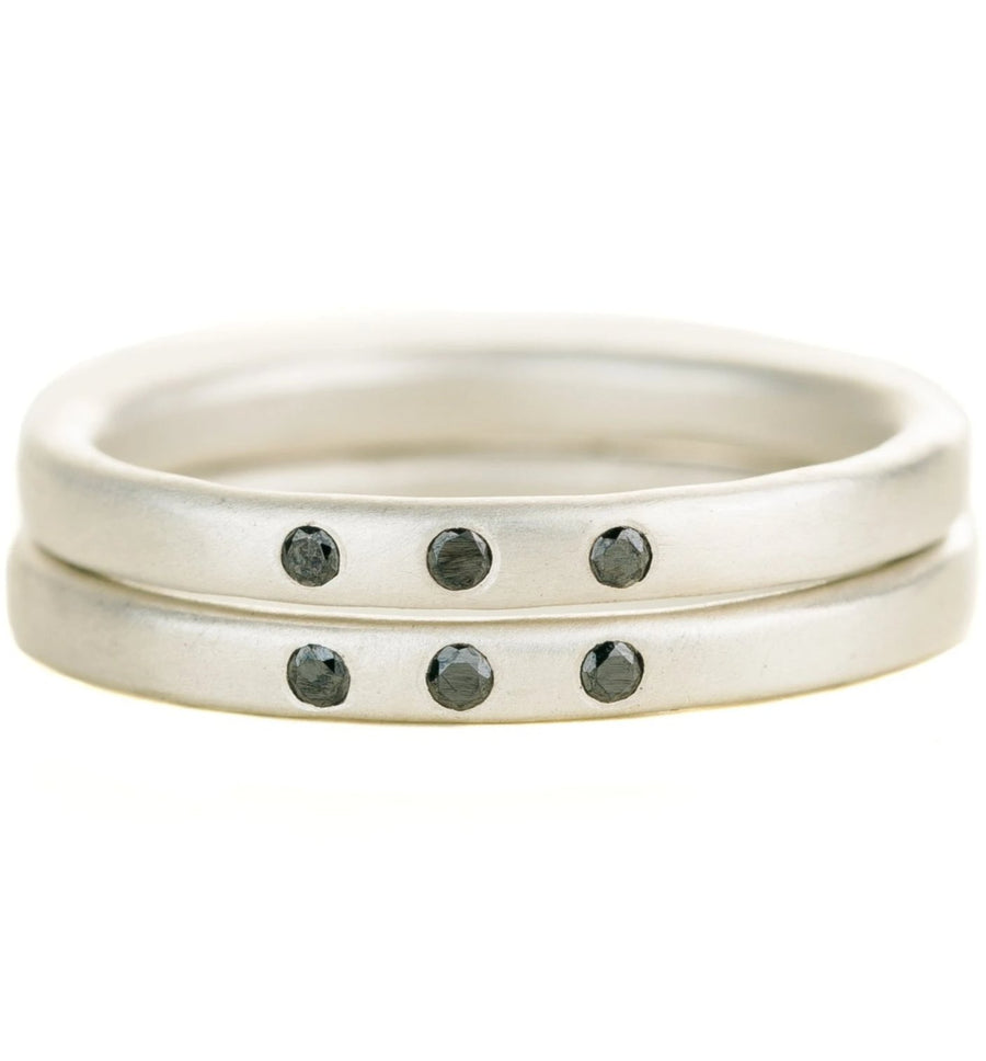 The Jane Stack Rings - Matte Silver + Black Diamonds
