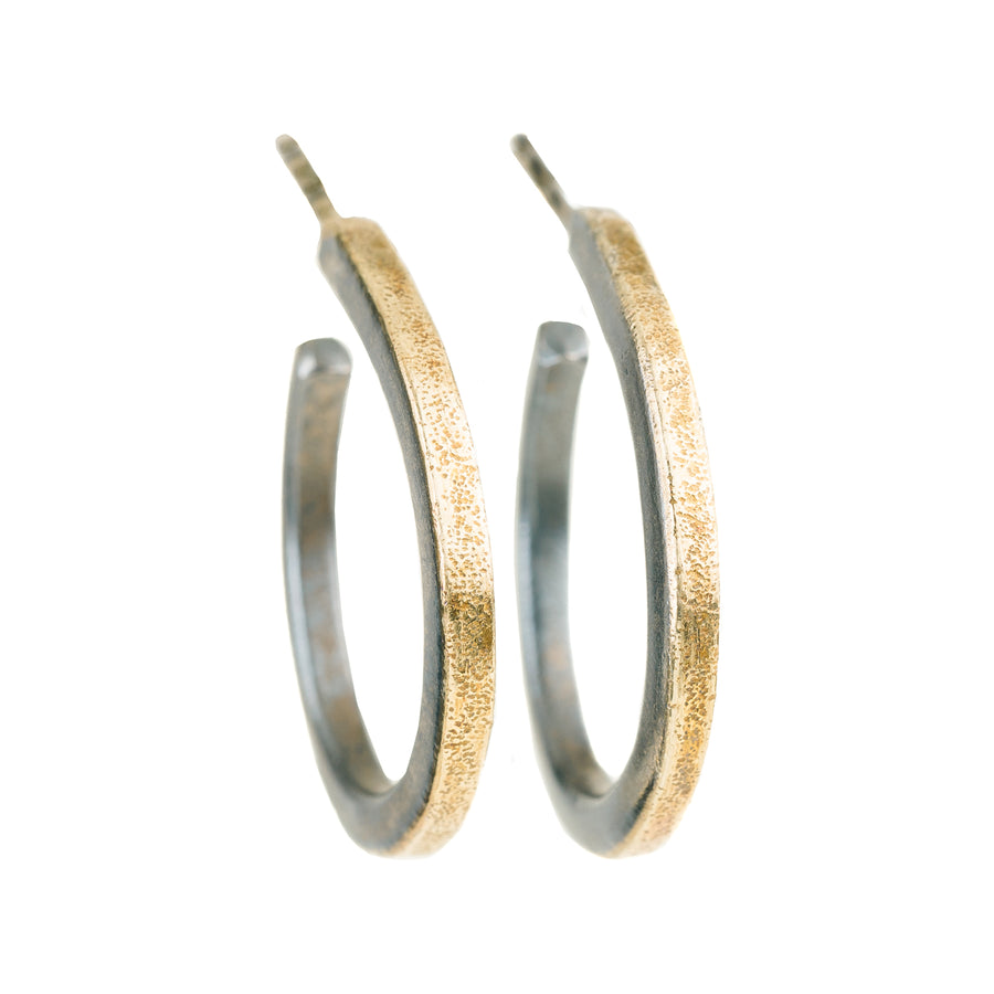 Black and Gold Mini Hoops