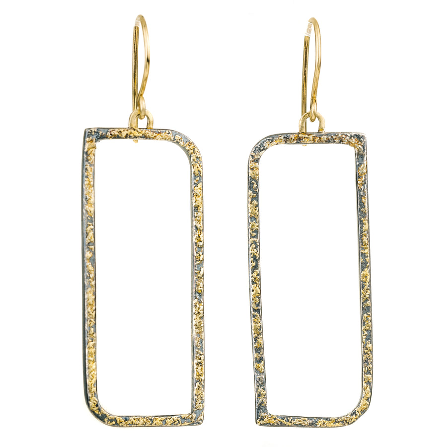 Floating Square Hoops with Diamonds - 22k/18k Gold, Oxidized Silver + Reclaimed Diamonds