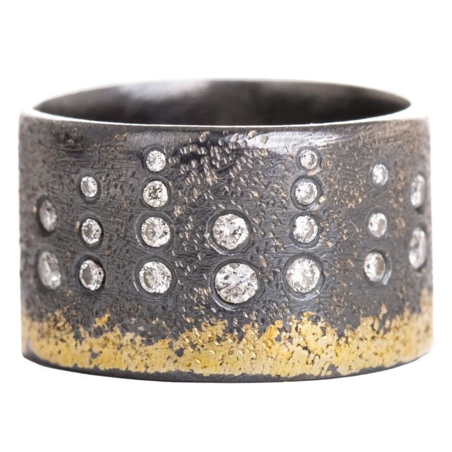 City Lights Band - 22k Gold, Oxidized Silver + Reclaimed Diamonds