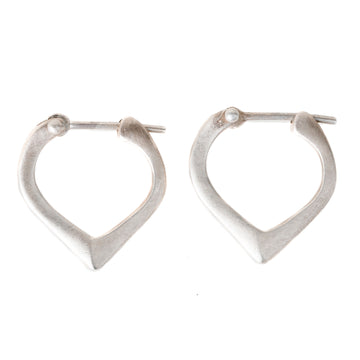 Corazon Hoop Earrings in Sterling Silver