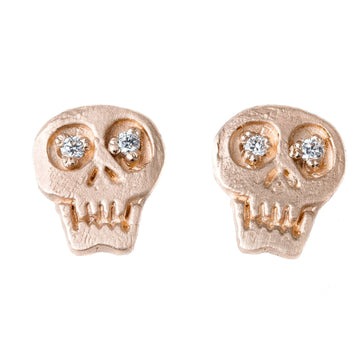 Charmed Skull Stud Earrings With White Or Black Diamonds In 14k Gold