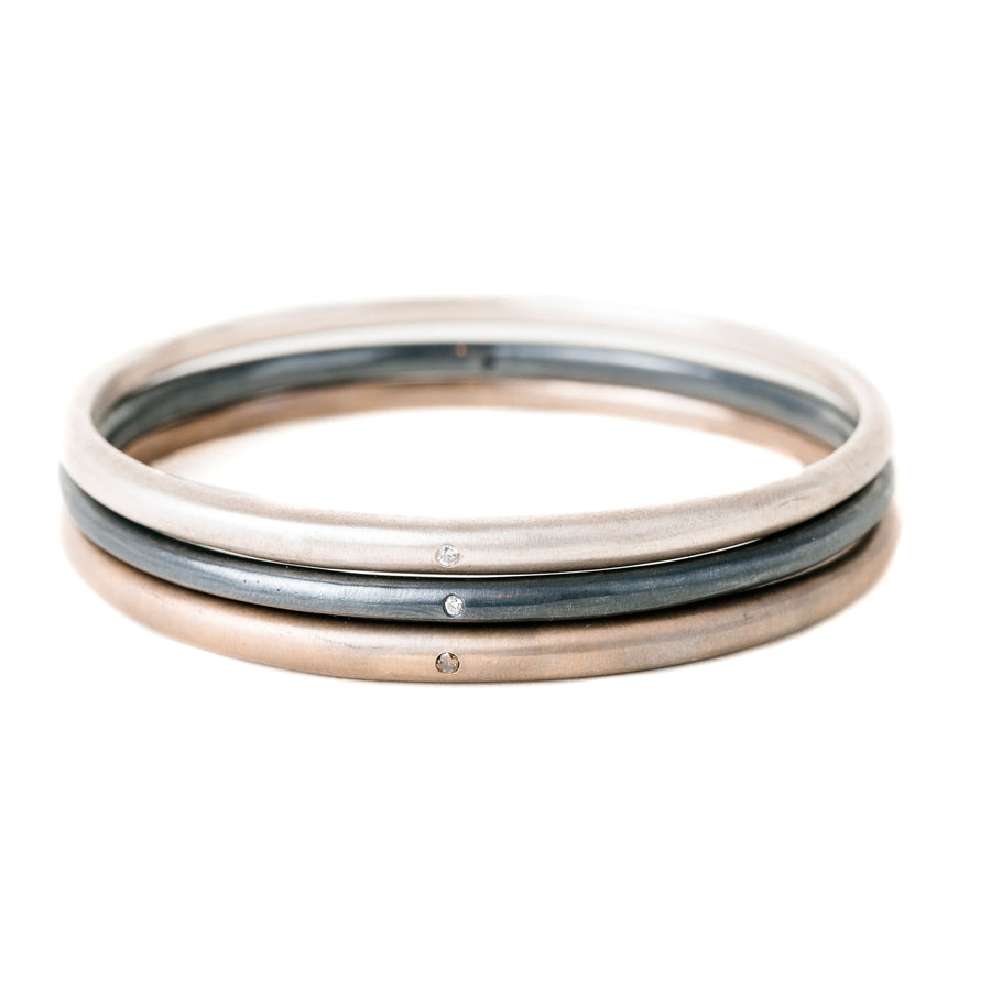 Tapered Bangle with 1.8mm White Diamond in Brushed Silver