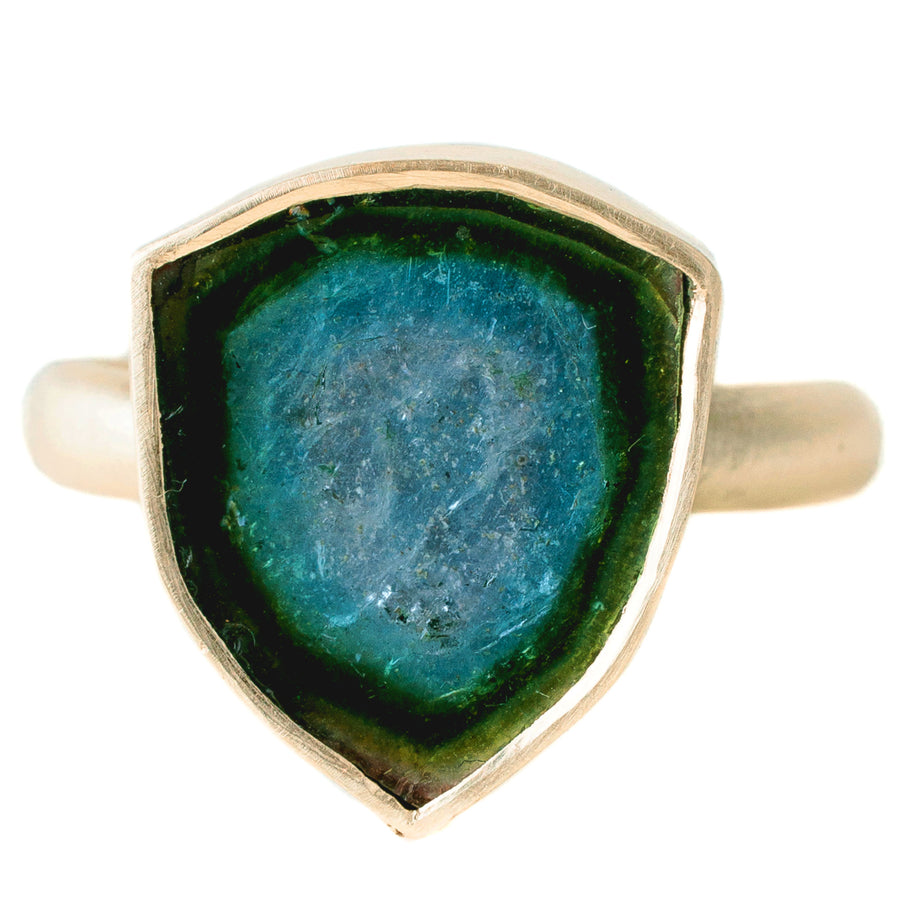 Blue & Green Tourmaline Ring In 14k Gold