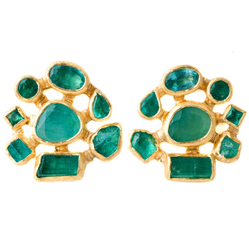 Mosaic Emerald Earrings - 22k + 18k Gold