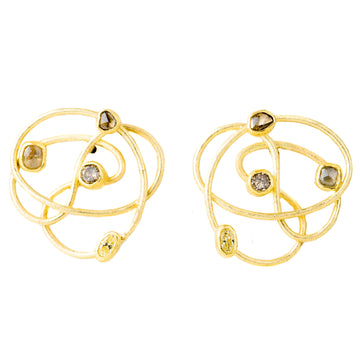 Scribble Diamond Earrings - 22k + 18k Gold