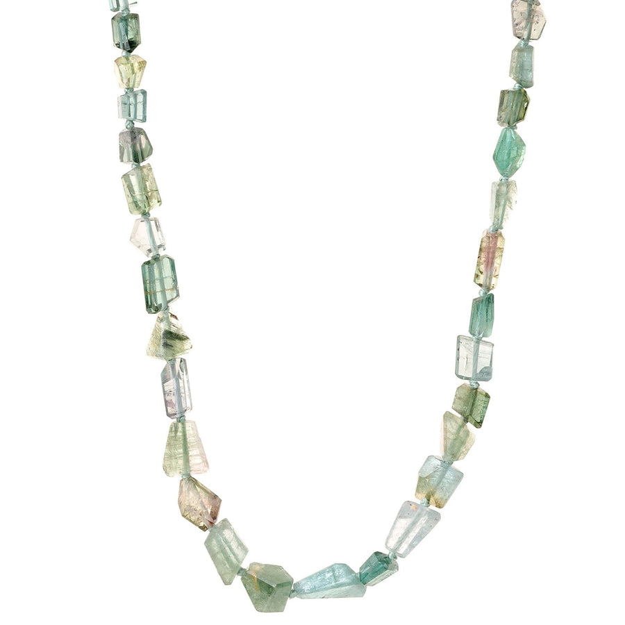 Green Tourmaline Geometric Necklace With 14k Gold Clasp