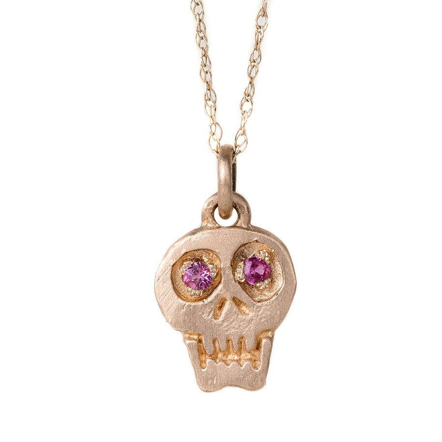 Charmed Skull With Hot Pink Sapphire 14k Gold Necklace