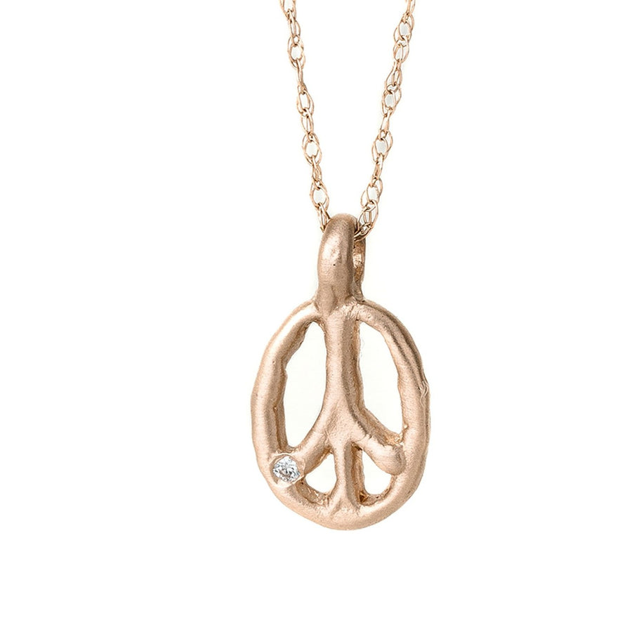 Charmed Peace Sign 14k Gold Necklace