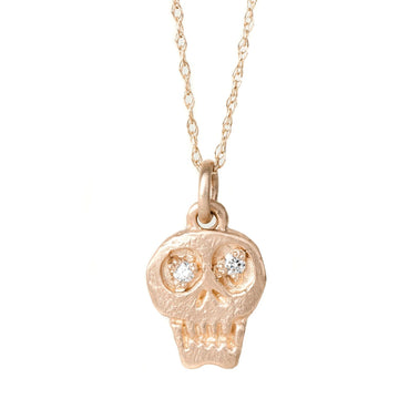 Charmed Skull With White Diamonds 14k Gold Necklace