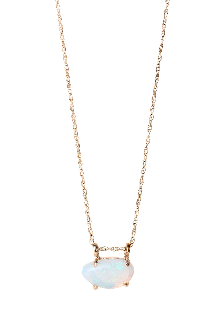 Claw Prong Opal 14k Gold Necklace