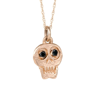 Charmed Skull With Black Diamonds 14k Gold Necklace